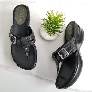 Cole Haan Womens Air Black Wedge Slide Sandals